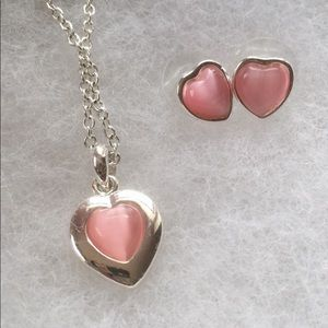 Heart Necklace and Matching Earrings